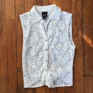 Button down lace tank top